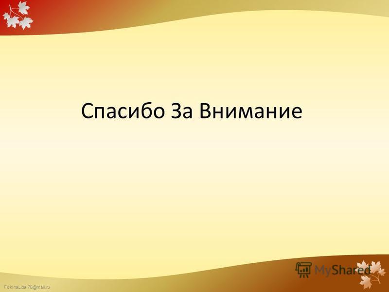 FokinaLida.75@mail.ru Спасибо За Внимание