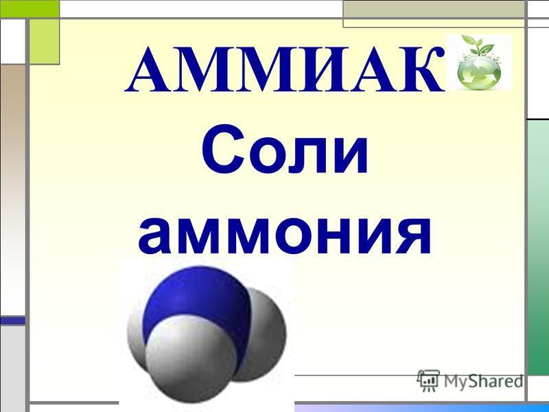 АММИАК Соли аммония