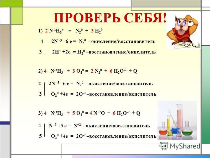 ПРОВЕРЬ СЕБЯ! 1) 2 N -3 H 3 + = N 2 0 + 3 H 2 0 1 2N -3 -6 е = N 2 0 - окисление/восстановитель 3 2H + +2e = H 2 0 –восстановление/окислитель 2) 4 N -3 H 3 + + 3 О 2 0 = 2 N 2 0 + 6 H 2 O -2 + Q 2 2N -3 -6 е = N 2 0 - окисление/восстановитель 3 О 2 0