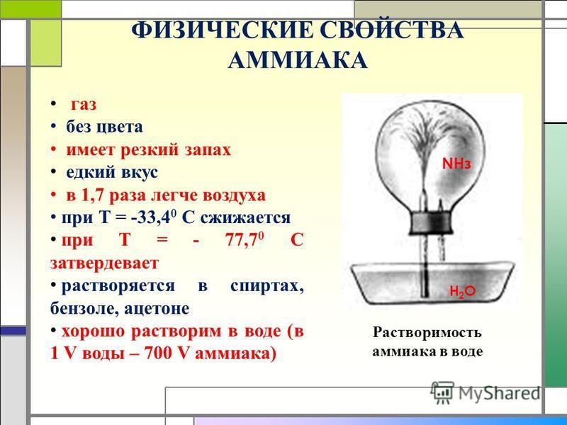 ФИЗИЧЕСКИЕ СВОЙСТВА АММИАКА газ без цвета имеет резкий запах едкий вкус в 1,7 раза легче воздуха при Т = -33,4 0 С сжижается при Т = - 77,7 0 С затвердевает растворяется в спиртах, бензоле, ацетоне хорошо растворим в воде (в 1 V воды – 700 V аммиака)