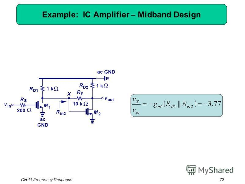 Example: IC Amplifier – Midband Design CH 11 Frequency Response73