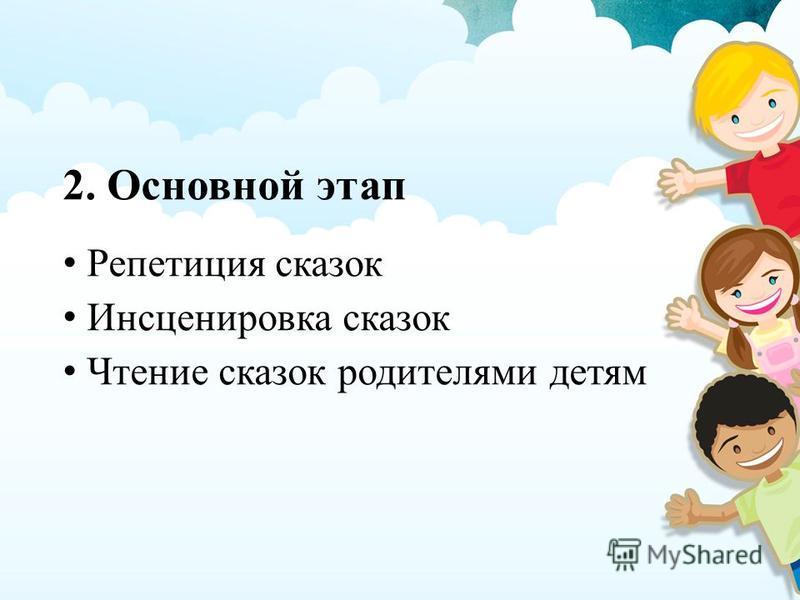 2. Основной этап Репетиция сказок Инсценировка сказок Чтение сказок родителями детям