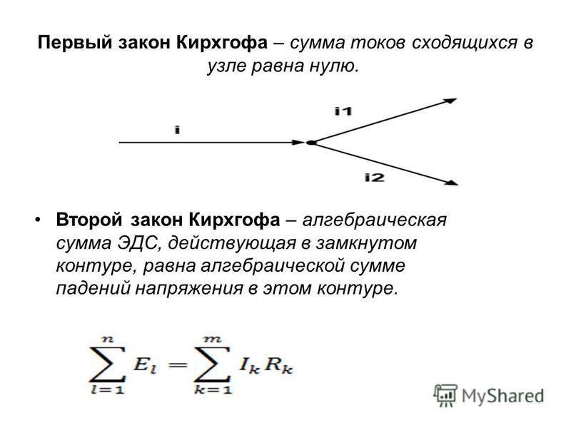 Первый закон Кирхгофа – сумма токов сходящихся в узле равна нулю. Второй закон Кирхгофа – алгебраическая сумма ЭДС, действующая в замкнутом контуре, равна алгебраической сумме падений напряжения в этом контуре.