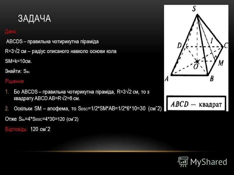 ЗАДАЧА Дано: ABCDS – правильна чотирикутна піраміда R=32 см – радіус описаного навколо основи кола SM=k=10см. Знайти: S біч Рішення 1.Бо ABCDS – правильна чотирикутна піраміда, R=32 см, то з квадрату ABCD AB=R2=6 см. 2.Оскільки SM – апофема, то S ВSC