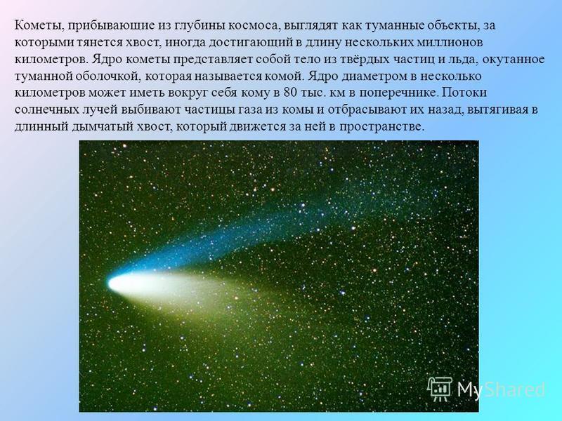 Кометы, прибывающие из глубины космоса, выглядят как туманные объекты, за которыми тянется хвост, иногда достигающий в длину нескольких миллионов километров. Ядро кометы представляет собой тело из твёрдых частиц и льда, окутанное туманной оболочкой,