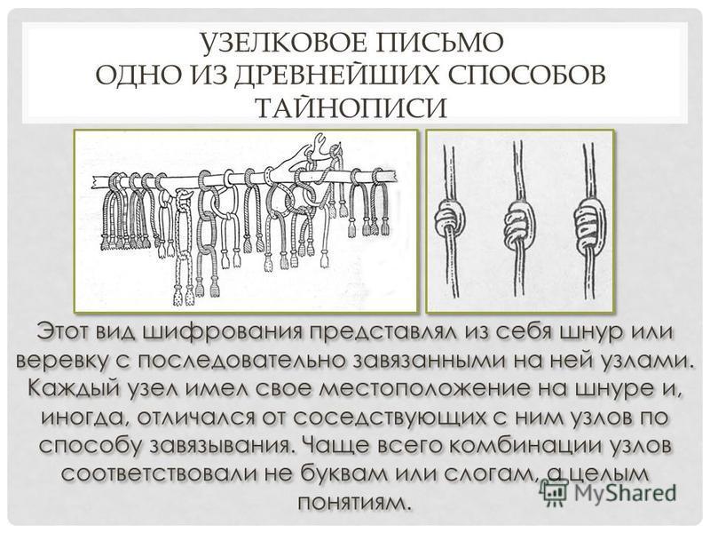 Этот вид шифрования представлял из себя шнур или веревку с последовательно завязанными на ней узлами. Каждый узел имел свое местоположение на шнуре и, иногда, отличался от соседствующих с ним узлов по способу завязывания. Чаще всего комбинации узлов