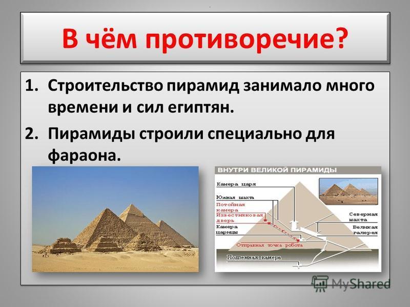 В чём противоречие? 1. Строительство пирамид занимало много времени и сил египтян. 2. Пирамиды строили специально для фараона. 1. Строительство пирамид занимало много времени и сил египтян. 2. Пирамиды строили специально для фараона..