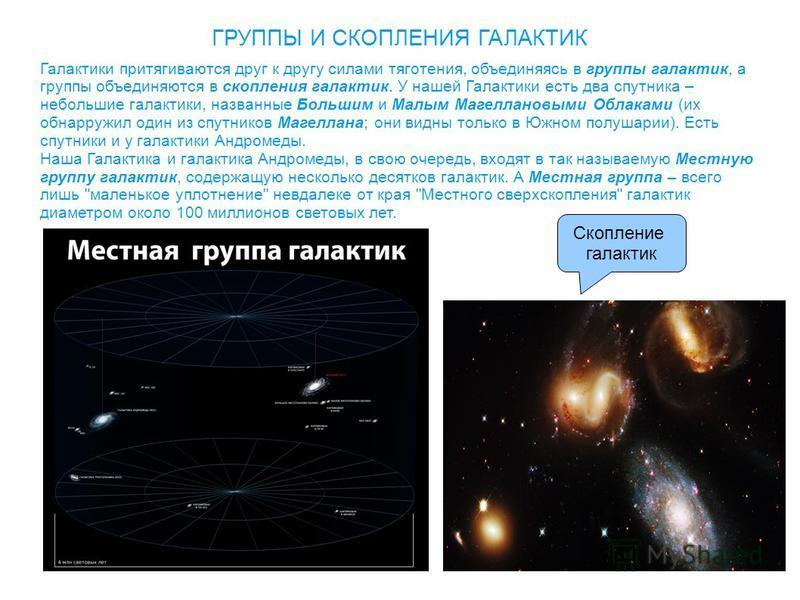 ГРУППЫ И СКОПЛЕНИЯ ГАЛАКТИК Галактики притягиваются друг к другу силами тяготения, объединяясь в группы галактик, а группы объединяются в скопления галактик. У нашей Галактики есть два спутника – небольшие галактики, названные Большим и Малым Магелла