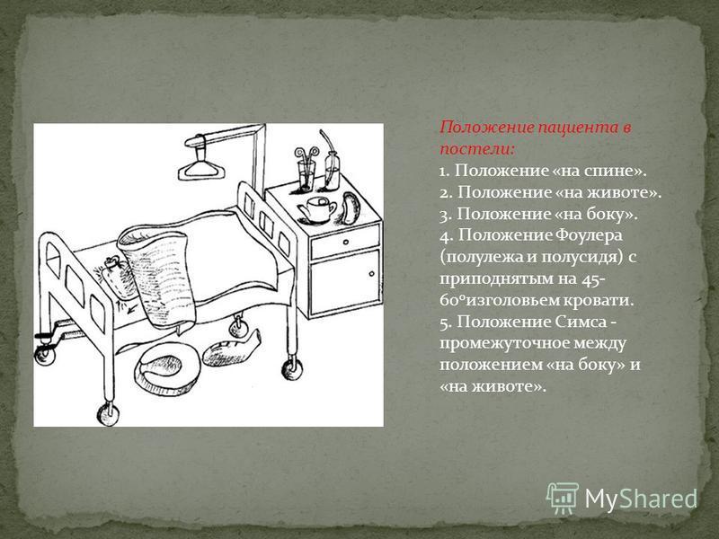 Положение пациента в постели: 1. Положение «на спине». 2. Положение «на животе». 3. Положение «на боку». 4. Положение Фоулера (полулежа и полусидя) с приподнятым на 45- 60 о изголовьем кровати. 5. Положение Симса - промежуточное между положением «на