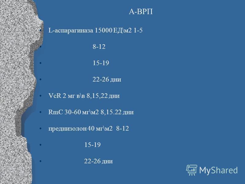 А-ВРП L-аспарагиназа 15000 ЕД\м 2 1-5 8-12 15-19 22-26 дни VcR 2 мг в\в 8,15,22 дни RmC 30-60 мг\м 2 8,15.22 дни преднизолон 40 мг\м 2 8-12 15-19 22-26 дни