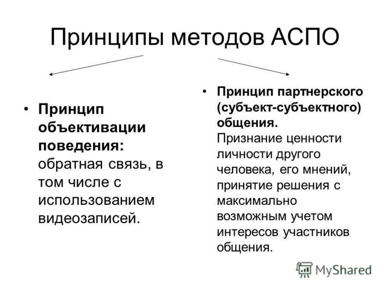 Принципы методов АСПО Принцип объективации поведения: обратная связь, в том числе с использованием видеозаписей. Принцип партнерского (субъект-субъектного) общения. Признание ценности личности другого человека, его мнений, принятие решения с максимал