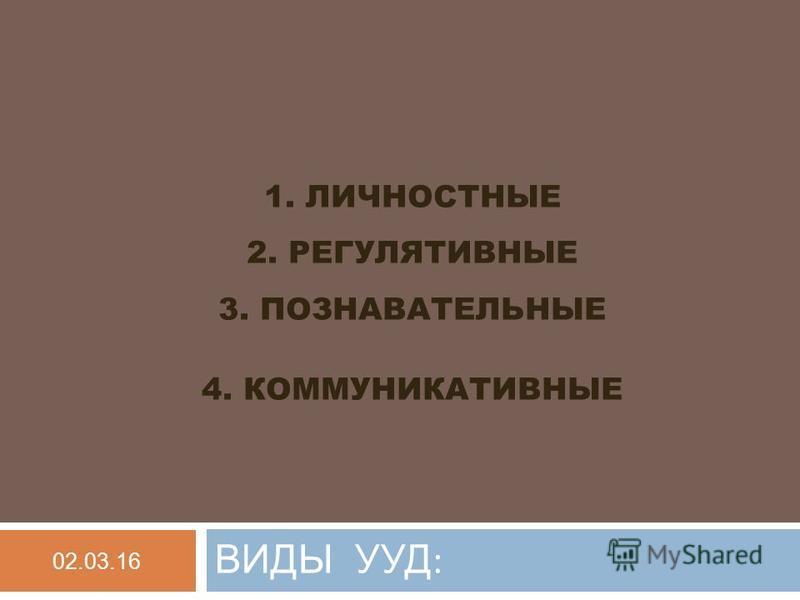 1. ЛИЧНОСТНЫЕ 2. РЕГУЛЯТИВНЫЕ 3. ПОЗНАВАТЕЛЬНЫЕ 4. КОММУНИКАТИВНЫЕ ВИДЫ УУД : 02.03.16
