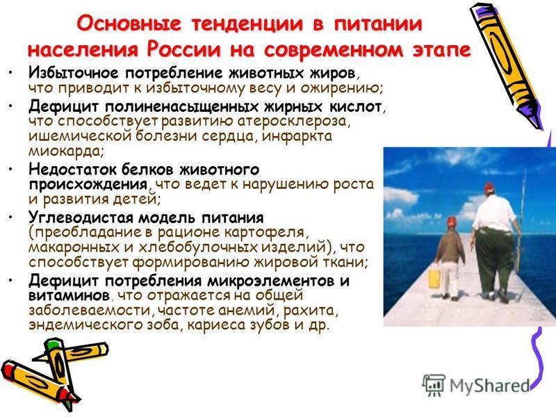 Основные тенденции в питании населения России на современном этапе Избыточное потребление животных жиров, что приводит к избыточному весу и ожирению; Дефицит полиненасыщенных жирных кислот, что способствует развитию атеросклероза, ишемической болезни