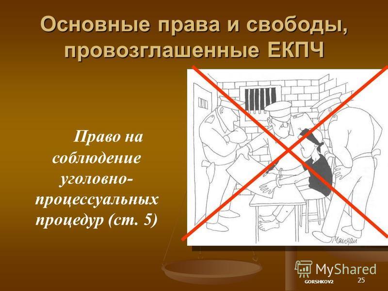 25 Основные права и свободы, провозглашенные ЕКПЧ Право на соблюдение уголовно- процессуальных процедур (ст. 5) GORSHKOV2