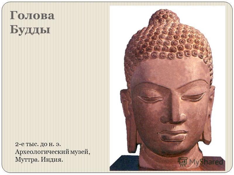 Голова Будды 2-е тыс. до н. э. Археологический музей, Муттра. Индия.