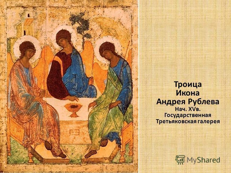 Троица Икона Андрея Рублева Нач. XVв. Государственная Третьяковская галерея
