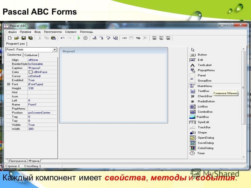 Pascal ABC Forms Каждый компонент имеет свойства, методы и события.