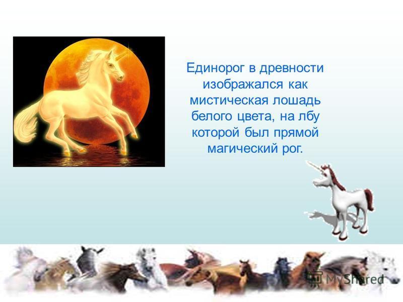 Единорог в древности изображался как мистическая лошадь белого цвета, на лбу которой был прямой магический рог.