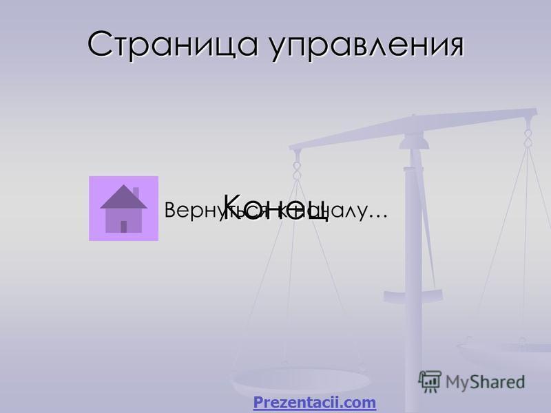 Страница управления Конец Вернуться к началу… Prezentacii.com