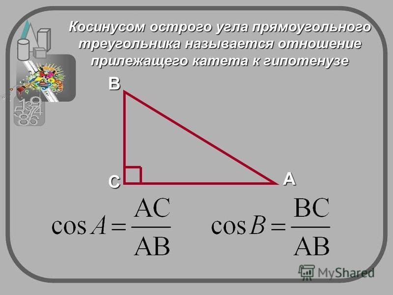 A CB Косинусом острого угла прямоугольного треугольника называется отношение прилежащего катета к гипотенузе