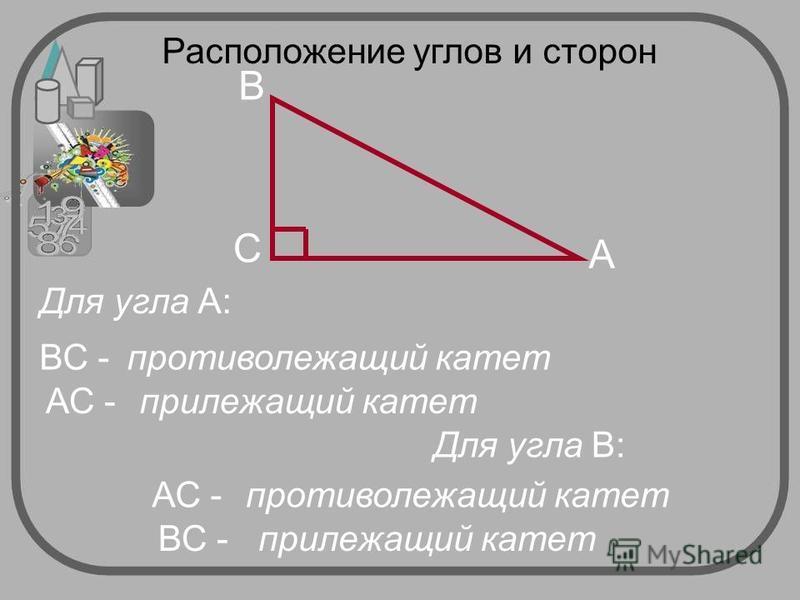 A C B Для угла А: ВС -противолежащий катет АС -прилежащий катет противолежащий катет Для угла В: АС - ВС -прилежащий катет Расположение углов и сторон