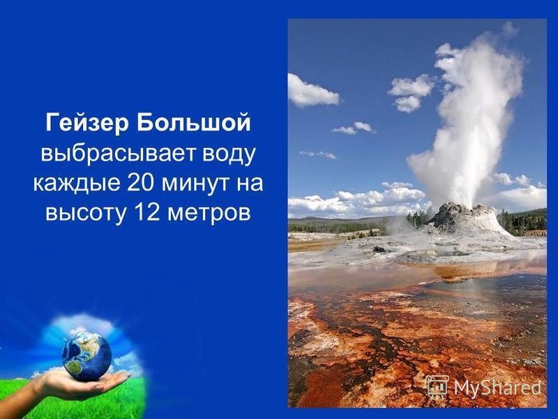 Free Powerpoint Templates Page 15 Геизер Большой выбрасывает воду каждые 20 минут на высоту 12 метров