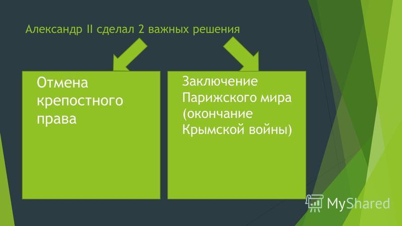 Александр II сделал 2 важных решения Отмена крепостного права Заключение Парижского мира (окончание Крымской войны)