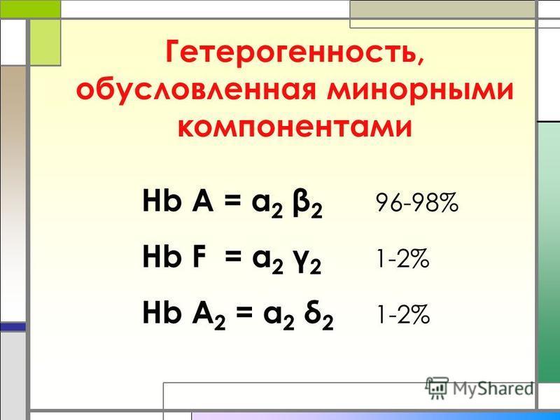 Гетерогенность, обусловленная минорными компонентами Hb A = α 2 β 2 96-98% Hb F = α 2 γ 2 1-2% Hb A 2 = α 2 δ 2 1-2%