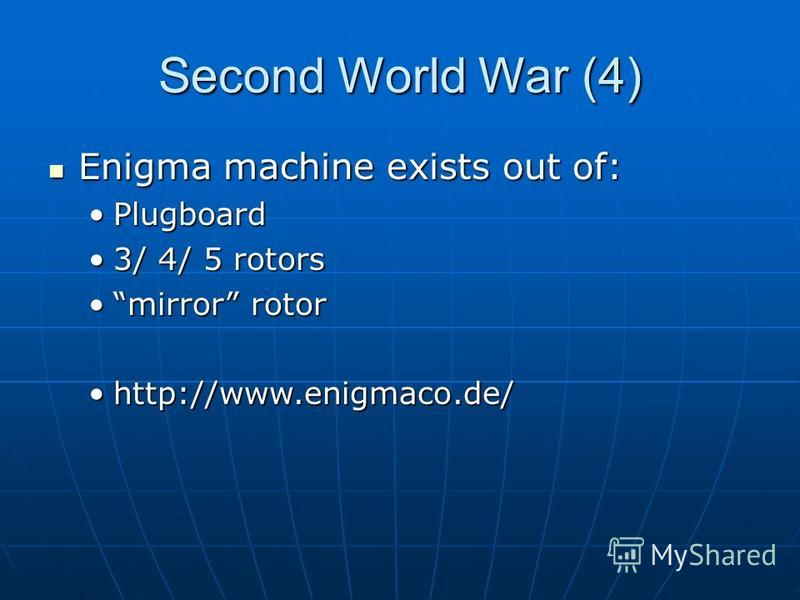 Second World War (4) Enigma machine exists out of: Enigma machine exists out of: PlugboardPlugboard 3/ 4/ 5 rotors3/ 4/ 5 rotors mirror rotormirror rotor http://www.enigmaco.de/http://www.enigmaco.de/