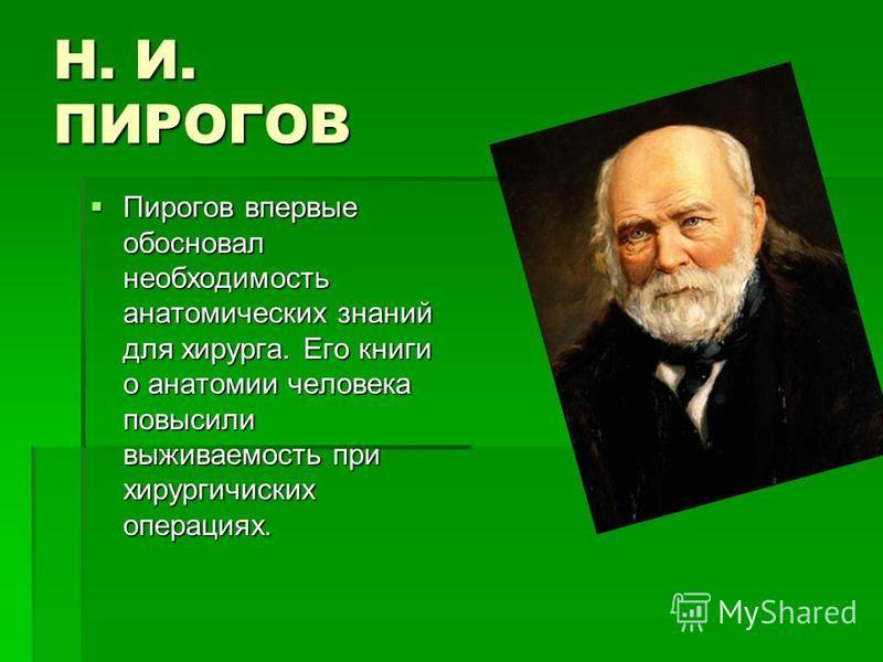 Н. И. ПИРОГОВ Пирогов впервые обосновал необходимость анатомических знаний для хирурга. Его книги о анатомии человека повысили выживаемость при хирургических операциях. Пирогов впервые обосновал необходимость анатомических знаний для хирурга. Его кни