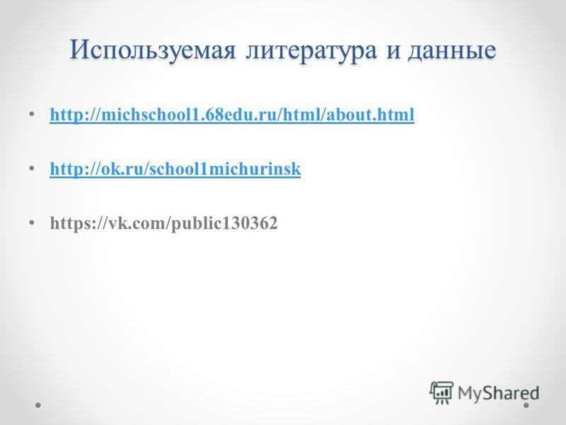 Используемая литература и данные http://michschool1.68edu.ru/html/about.html http://ok.ru/school1michurinsk https://vk.com/public130362