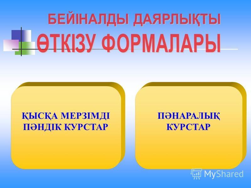 ҚЫСҚА МЕРЗІМДІ ПӘНДІК КУРСТАР ПӘНАРАЛЫҚ КУРСТАР