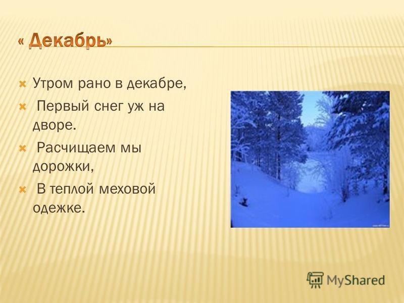 Утром рано в декабре, Первый снег уж на дворе. Расчищаем мы дорожки, В теплой меховой одежке.