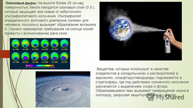 Озоновые дыры. Озоновые дыры. На высоте более 20 км над поверхностью Земли находится озоновый слой (0 3 ), который защищает все живое от избыточного ультрафиолетового излучения. Ультрафиолет определенного волнового диапазона полезен для человека, пос