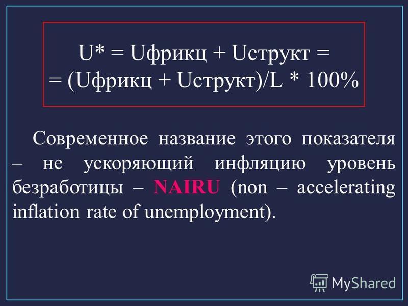U* = Uфрикц + Uструкт = = (Uфрикц + Uструкт)/L * 100% Современное название этого показателя – не ускоряющий инфляцию уровень безработицы – NAIRU (non – accelerating inflation rate of unemployment).