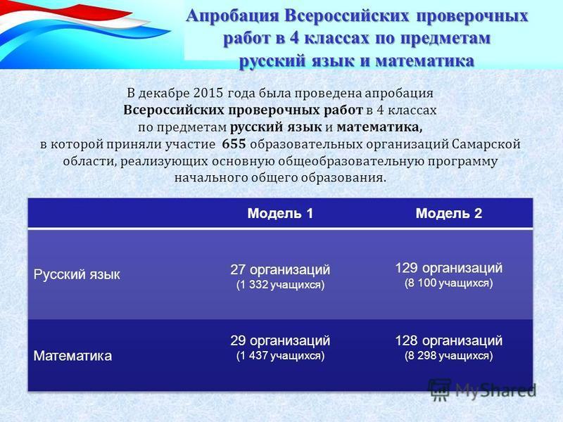 В декабре 2015 года была проведена апробация Всероссийских проверочных работ в 4 классах по предметам русский язык и математика, в которой приняли участие 655 образовательных организаций Самарской области, реализующих основную общеобразовательную про