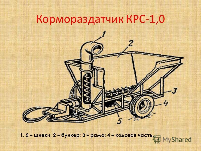 Кормораздатчик КРС-1,0 1, 5 – шнеки; 2 – бункер; 3 – рама; 4 – ходовая часть.
