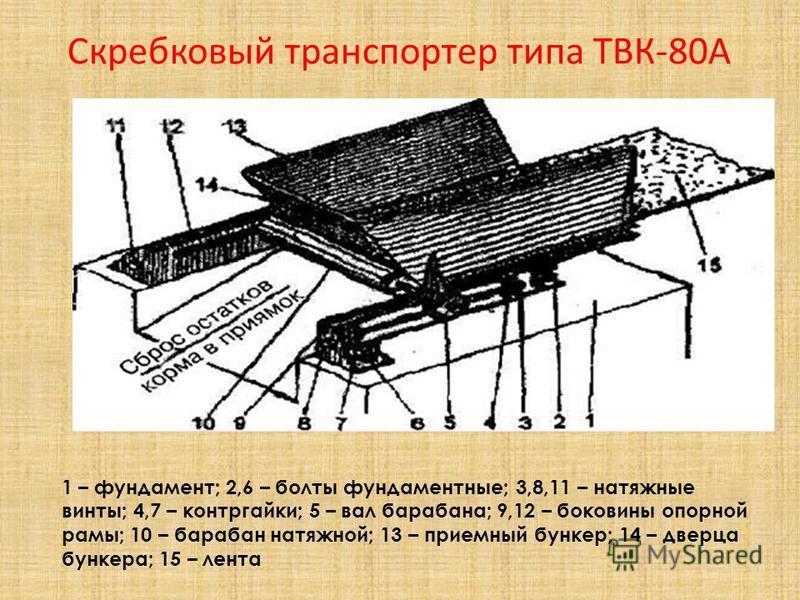 Скребковый транспортер типа ТВК-80А 1 – фундамент; 2,6 – болты фундаментные; 3,8,11 – натяжные винты; 4,7 – контргайки; 5 – вал барабана; 9,12 – боковины опорной рамы; 10 – барабан натяжной; 13 – приемный бункер; 14 – дверца бункера; 15 – лента