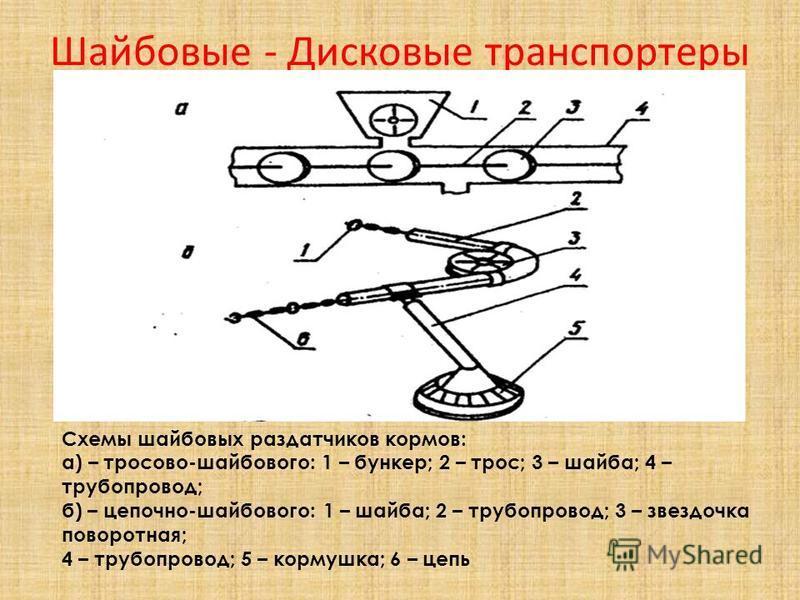 Шайбовые - Дисковые транспортеры Схемы шайбовых раздатчиков кормов: а) – тросово-шайбового: 1 – бункер; 2 – трос; 3 – шайба; 4 – трубопровод; б) – цепочно-шайбового: 1 – шайба; 2 – трубопровод; 3 – звездочка поворотная; 4 – трубопровод; 5 – кормушка;