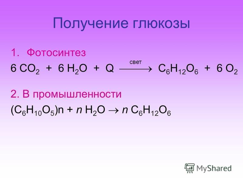 Получение глюкозы 1. Фотосинтез 6 СO 2 + 6 H 2 O + Q C 6 H 12 O 6 + 6 O 2 2. В промышленности (C 6 H 10 O 5 )n + n H 2 O n C 6 H 12 O 6 свет