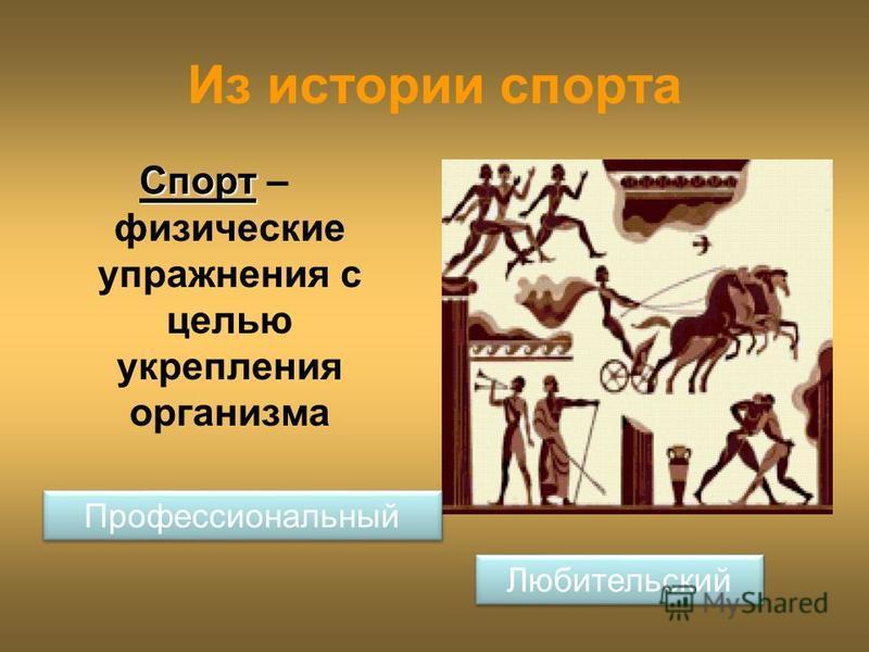 Из истории спорта Спорт Спорт – физические упражнения с целью укрепления организма Профессиональный Любительский