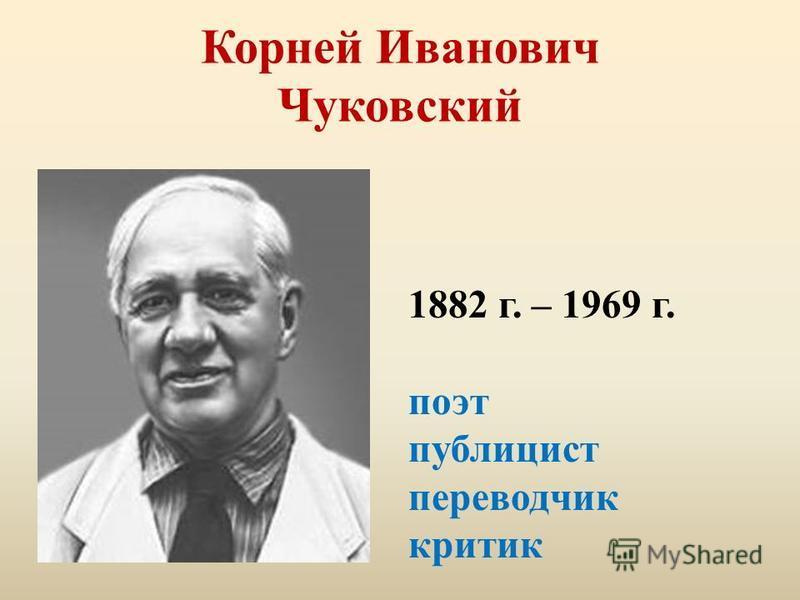 Корней Иванович Чуковский 1882 г. – 1969 г. поэт публицист переводчик критик