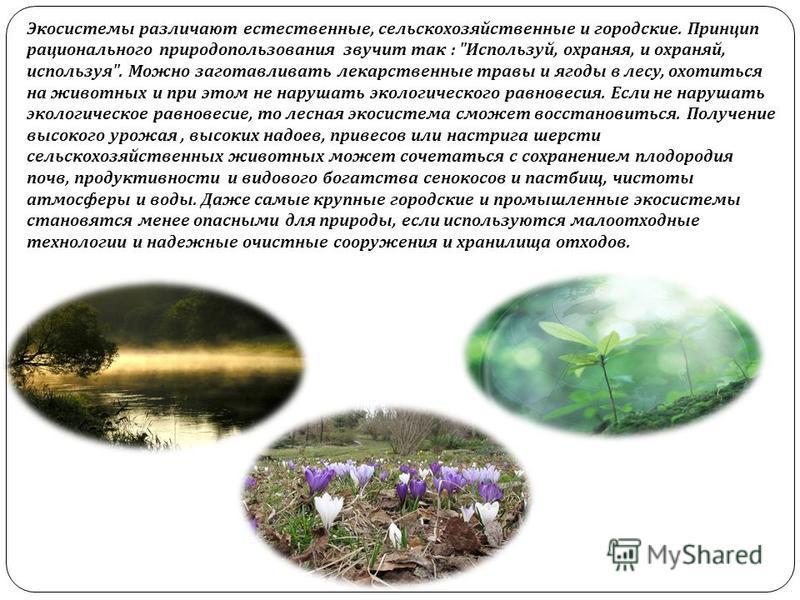 Экосистемы различают естественные, сельскохозяйственные и городские. Принцип рационального природопользования звучит так :