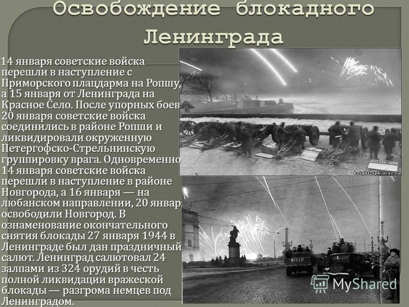 14 января советские войска перешли в наступление с Приморского плацдарма на Ропшу, а 15 января от Ленинграда на Красное Село. После упорных боев 20 января советские войска соединились в районе Ропши и ликвидировали окруженную Петергофско - Стрельнинс