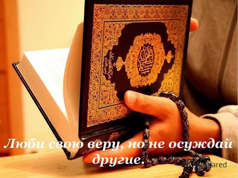 Люби свою веру, но не осуждай другие.