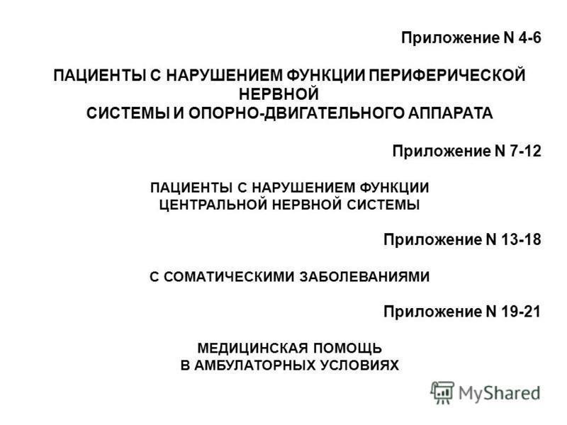 Приложение N 4-6 ПАЦИЕНТЫ С НАРУШЕНИЕМ ФУНКЦИИ ПЕРИФЕРИЧЕСКОЙ НЕРВНОЙ СИСТЕМЫ И ОПОРНО-ДВИГАТЕЛЬНОГО АППАРАТА Приложение N 7-12 ПАЦИЕНТЫ С НАРУШЕНИЕМ ФУНКЦИИ ЦЕНТРАЛЬНОЙ НЕРВНОЙ СИСТЕМЫ Приложение N 13-18 С СОМАТИЧЕСКИМИ ЗАБОЛЕВАНИЯМИ Приложение N 19