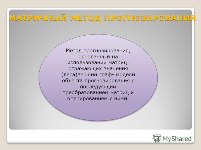 МАТРИЧНЫЙ МЕТОД ПРОГНОЗИРОВАНИЯ МАТРИЧНЫЙ МЕТОД ПРОГНОЗИРОВАНИЯ Метод прогнозирования, основанный на использовании матриц, отражающих значения (веса)вершин граф- модели объекта прогнозирования с последующим преобразованием матриц и оперированием с ни