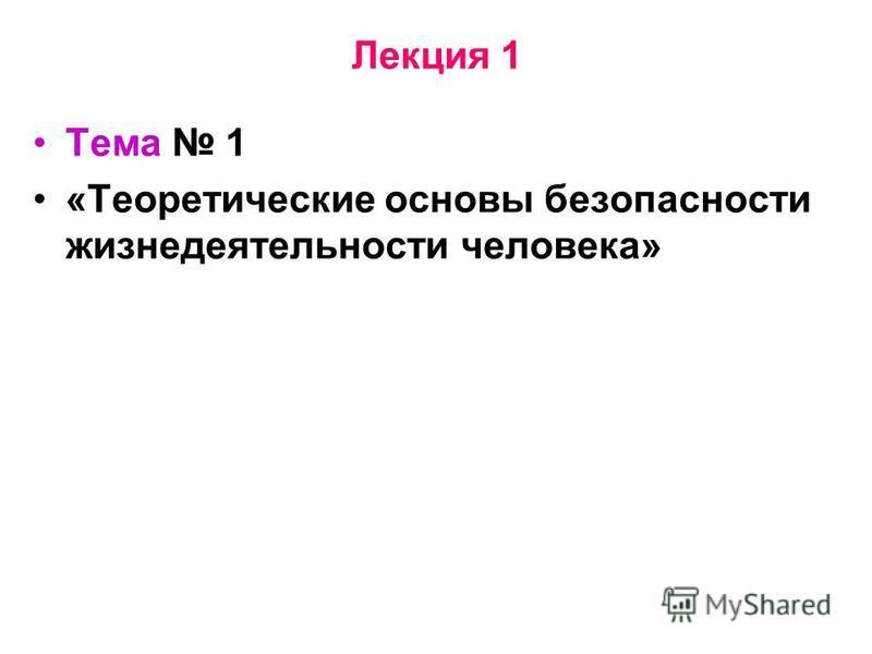 Лекция 1 Тема 1 «Теоретические основы безопасности жизнедеятельности человека»