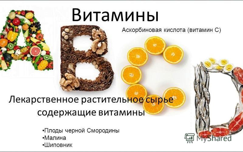 Витамины Лекарственное растительное сырье содержащие витамины Аскорбиновая кислота (витамин С) Пплоды черной Смородины Малина Шиповник