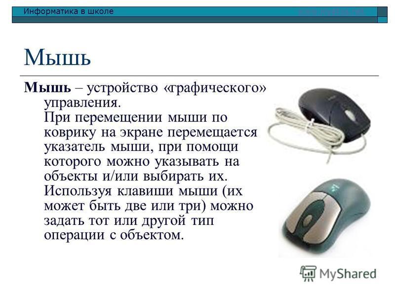 Информатика в школе www.klyaksa.netwww.klyaksa.net Мышь Мышь – устройство «графического» управления. При перемещении мыши по коврику на экране перемещается указатель мыши, при помощи которого можно указывать на объекты и/или выбирать их. Используя кл
